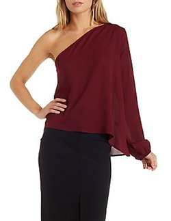 Charlotte Russe - Asymmetrical One Shoulder Top