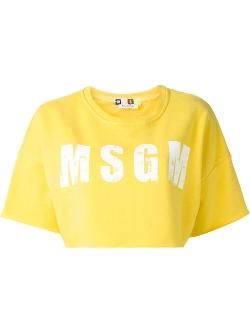 MSGM - Logo Print Cropped T-Shirt