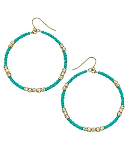 Blu Bijoux - Oval Bead And Crystal Hoop Earrings