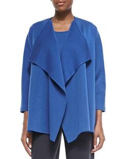 Caroline Rose - Wool Knit Draped Jacket