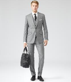 NAPOLEAN - THREE PIECE SUIT WITH SUBTLE CHECK  GREY