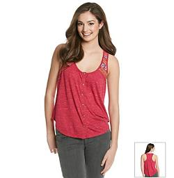 Eyeshadow - Embroidered Strap Henley Tank