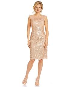 JS Collections - Metallic Floral-Lace Cocktail Dress