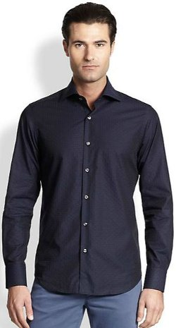 Saks Fifth Avenue Collection -  Circle & Squares Jacquard Sportshirt