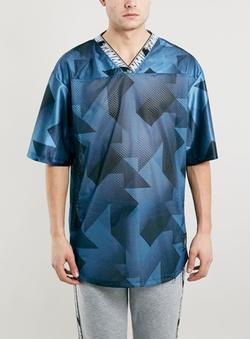 Topman - Txnmy Blue Short Sleeve Football T-Shirt