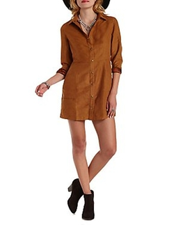 Charlotte Russe - Long Sleeve Faux Suede Dress