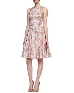 Carmen Marc Valvo  -  Floral-Print Sleeveless Golden Jacquard Dress
