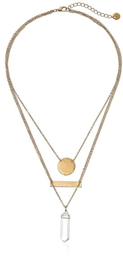 Jules Smith  - Geo Crystal Triple-Layer Pendant Necklace