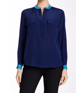 Vince. - Contrast Half Placket Silk Blouse