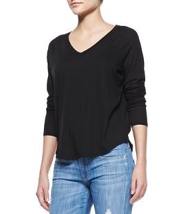 Vince  - Long-Sleeve V-Neck Tee