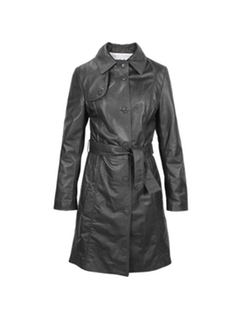 Forzieri - Soft Black Leather Belted Trench Coat