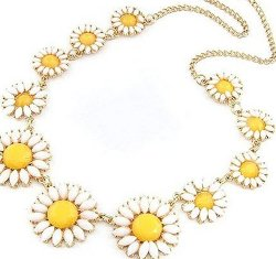 Jovana - Bubble Floral Design Bib Necklace