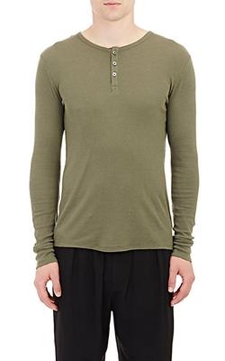 ATM - Waffle-Knit Henley Shirt