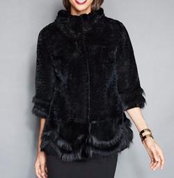 The Fur Vault - Scalloped Fox-Trimmed Rabbit Fur Jacket