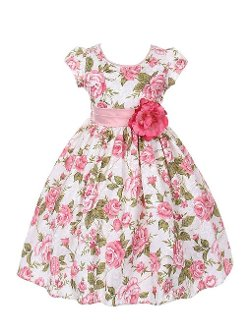 WonderfulDress  - Short Sleeve Jacquard Floral Print Girl Dress