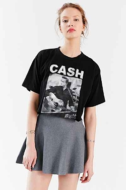 Urban Outfitters - Johnny Cash Photo Cropped Tee