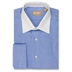 EZ Tuxedo  - Gitman Contrast Spread Collar Twill Blue Dress Shirt