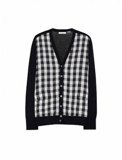 Taylor Cardigan With Contrast  - Bleached Sand With Contrast Buffalo Check
