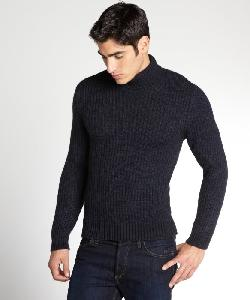 GUCCI  - Navy Wool Blend Ribbed Turtleneck Sweater