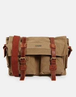 Barneys - Canvas And Leather Messenger Bag