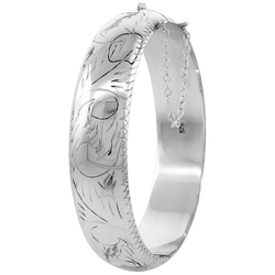 Sabrina Silver - Floral Engraving Bangle Bracelet
