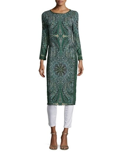 Calypso St. Barth - Tito Long-Sleeve Printed Dress, Emerald