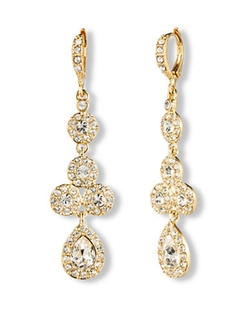 Givenchy - 10kt. Gold And Crystal Linear Pear Drop Earrings