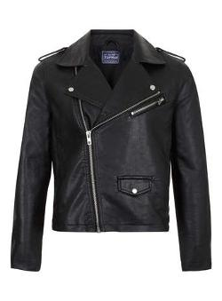 Topman - BLACK FAUX LEATHER BIKER JACKET
