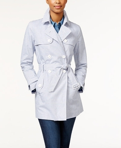 Tommy Hilfiger - Belted Oxford-Striped Trench Coat