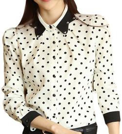 Skcute_blouse - Women Polka Dot Long Sleeve Chiffon Blouse