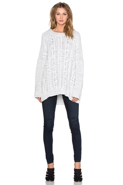 1. State - Long Sleeve Cable Poncho Sweater