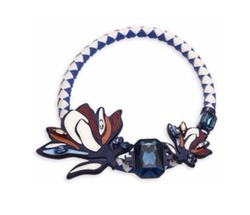 Tory Burch - Abstract Floral Leather & Crystal Statement Necklace
