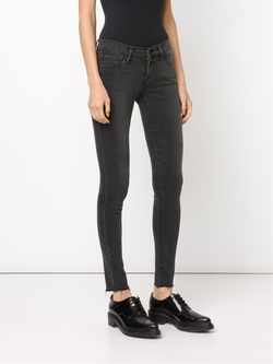 Frame Denim   - Frayed Ankle Skinny Jeans