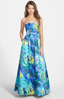 Hailey Logan  - Floral Print Strapless Gown