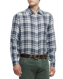 Brunello Cucinelli  - Plaid Button-Down Shirt