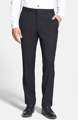 Topman  - Black Textured Skinny Fit Suit Trousers