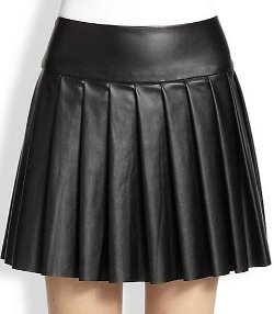 Ella Moss  - Raquel Pleated Faux Leather Skirt