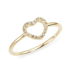 KC Designs  - Brilliant Diamond & Yellow Gold Open Heart Midi Ring