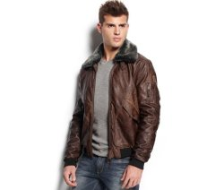 Guess - Faux Leather Aviator Jacket