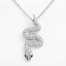Tori Hill Garnet & Marcasite - Snake Pendant Necklace