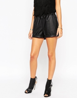 Asos  - Leather Look Shorts With Elastic Waistband