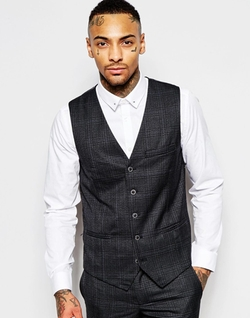Asos - Rogues Of London Check Vest In Skinny Fit