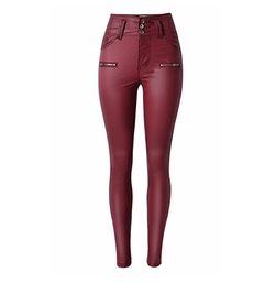 Olrain - Stretchy Faux Leather Skinny Jeans