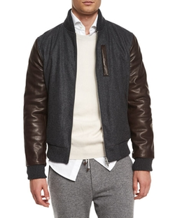 Brunello Cucinelli - Mixed-Media Wool Bomber Jacket, Dark Gray