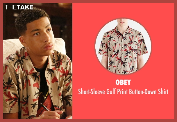 Obey beige shirt from Black-ish seen with  Andre Johnson, Jr. (Marcus Scribner)