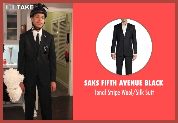 Saks Fifth Avenue Black black suit from Black-ish seen with  Andre Johnson, Jr. (Marcus Scribner)