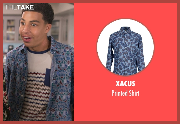 Xacus blue shirt from Black-ish seen with  Andre Johnson, Jr. (Marcus Scribner)