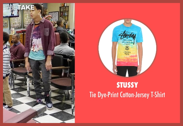 Stussy blue t-shirt from Black-ish seen with  Andre Johnson, Jr. (Marcus Scribner)
