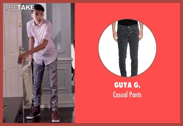 Guya G. gray pants from Black-ish seen with  Andre Johnson, Jr. (Marcus Scribner)