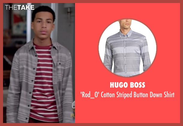 Hugo Boss gray shirt from Black-ish seen with  Andre Johnson, Jr. (Marcus Scribner)